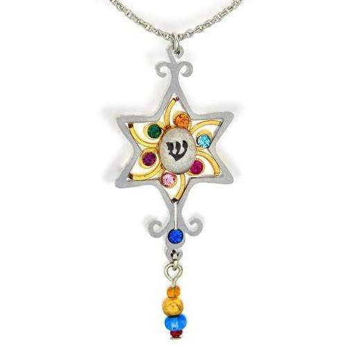 Seeka Clear Star of David Necklace With Drop Beads
