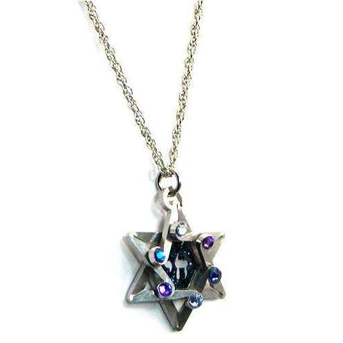 Seeka Dimensional Star of David and Chai Necklace in Shades of Blue