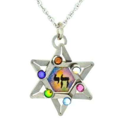 Seeka Dimensional Star of David and Chai Necklace with Multi-Color Crystals