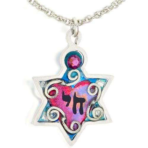 Seeka Star of David Necklace with Swirls and a Chai