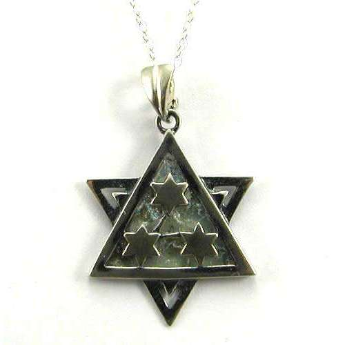 Shamay & Benlulu Four Star Roman Glass Star of David Necklace