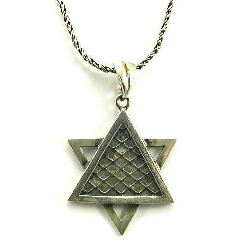 Shamay & Benlulu Mesh Star of David Necklace with Roman Glass