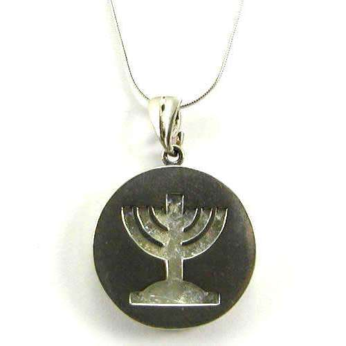 Shamay & Benlulu Round Menorah Necklace With Roman Glass