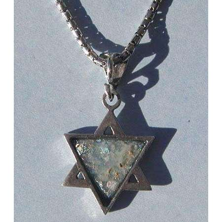 Shamay & Benlulu Simple Star of David with Roman Glass