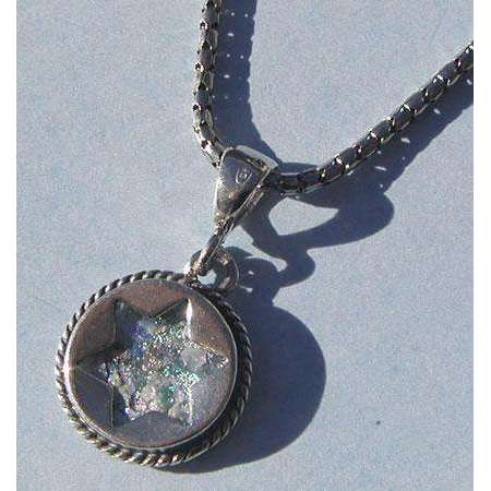 Shamay & Benlulu Star of David in Round Pendant with Roman Glass