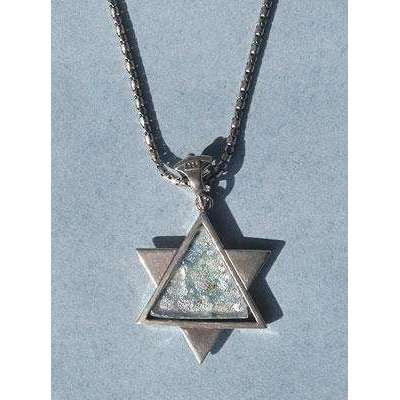 Shamay & Benlulu Textured Star of David with Roman Glass