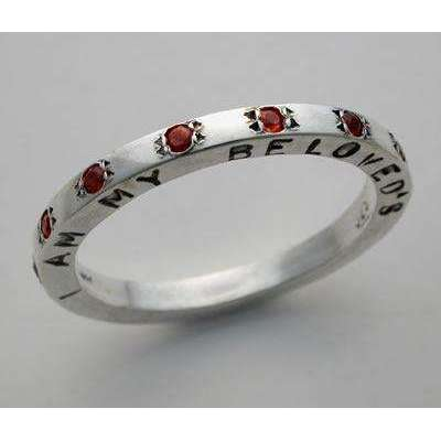 Slim Jewish Wedding Ring with Garnets