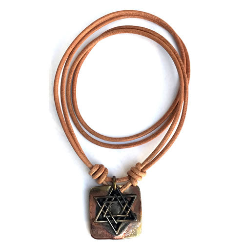 Ildanach Studios Silver Star of David Necklace on Copper Square