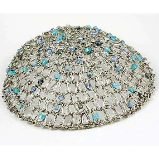 Studio Jere Antique Silver Crocheted Wire Handmade Kippah With Shades of Blue Beads