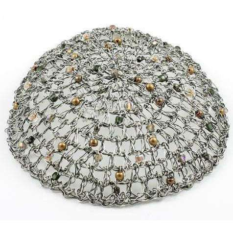 Studio Jere Antique Silver Crocheted Wire Kippah for Women with Metallic Beads