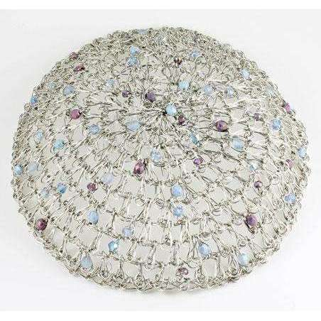 Studio Jere Antique Silver Wire Crocheted Beaded Kippot for Women with Blue and Purple Beads