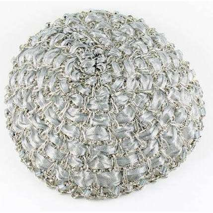 Studio Jere Antique Silver Wire Crocheted Kippot with Light Silver Ribbon