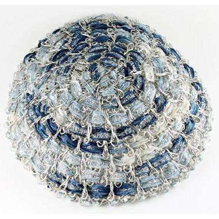 Studio Jere Antique Silver Wire Handmade Kippah with Shades of Blue Ribbon