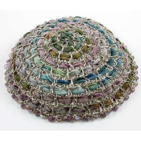 Studio Jere Antique Silver Wire Kippot and Ribbon in Shades of Blue, Green, and Purple