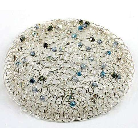Studio Jere Knitted Silver Wire Beaded Kippah with Blue, Green and Clear Beads