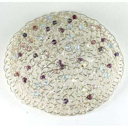Studio Jere Knitted Silver Wire Beaded Kippot for Women with Blue, Purple, and Clear Beads