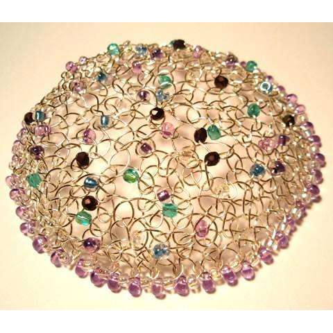 Studio Jere Knitted Silver Wire Kippot with Purple, Blue and Green Beads and Beaded Edge