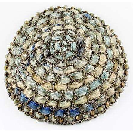 Studio Jere Pale Vintage Bronze Wire Kippot with Ribbon in Shades of Pale Yellow, Green, and Blue