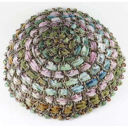 Studio Jere Peaceful Garden Vintage Bronze Wire Kippah with Ribbon in Shades of Green and Purple