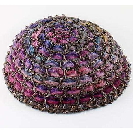 Studio Jere Ribbon and Antique Copper Wire Kippah in Bright Shades of Pinks and Purples With Beads