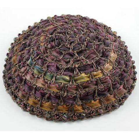 Studio Jere Ribbon and Antique Copper Wire Kippah in Rich Shades of Plum With Beads
