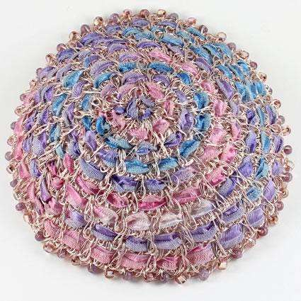 Studio Jere Ribbon and Rose Gold Wire Kippah in Soft Shades of Pinks and Purples With Beads