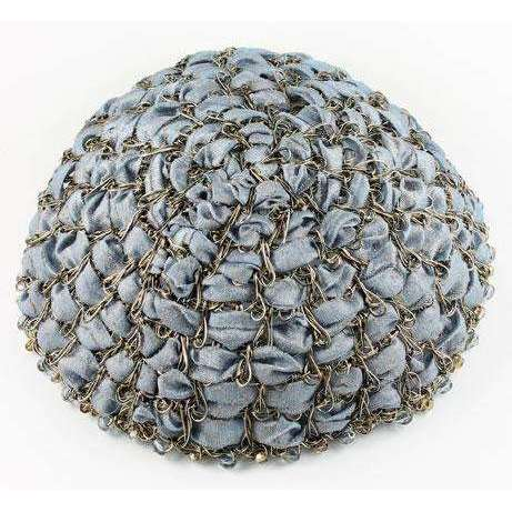 Studio Jere Vintage Bronze Wire Kippah for Women With Iridescent Blue/Gray Ribbon