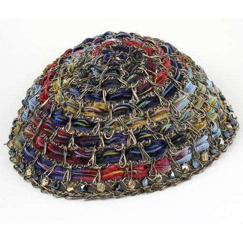 Studio Jere Vintage Bronze Wire Kippot with Ribbon in Deep Shades of Blue, Red, and Green