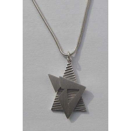 Susan Fox Sterling Silver Star of David Necklace With Chai