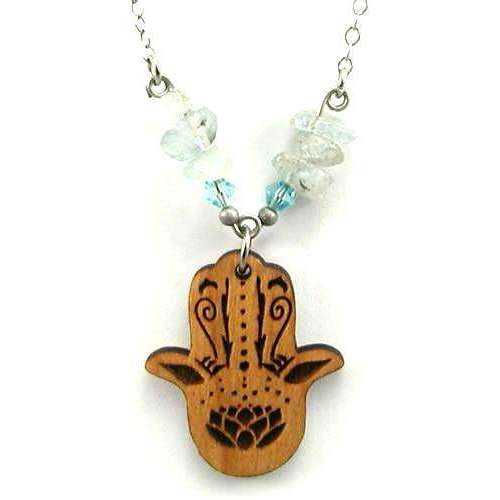 Tari Zarka Hamsa Necklace With Aquamarine
