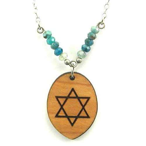 Tari Zarka Star of David Necklace With Apatite and Aquamarine