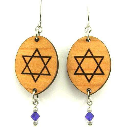 Tari Zarka Wood Star of David Earrings With Drop Beads