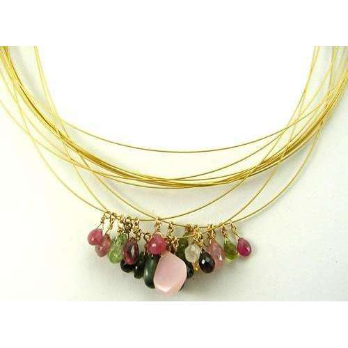 Urban Links Watermelon Tourmaline Cluster Necklace & Earrings