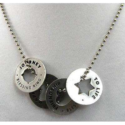 Whitney Howard Blessing Ring Necklace - Happiness, Friendship, L'Chaim, Journey