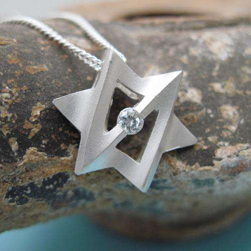 Yonatan Galaxtica Sterling Silver Star of David Necklace