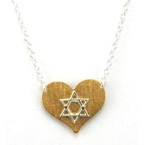 Zina Kao Gold Heart With Silver Star of David