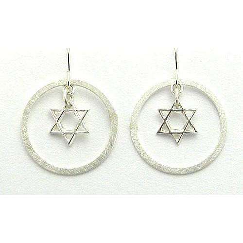 Zina Kao Modern Star of David Earrings in Circle