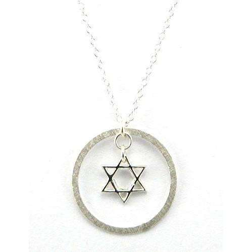 Zina Kao Modern Star of David Necklace in Circle