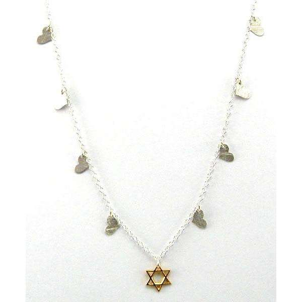 Zina Kao Pretty Star of David Necklace with Heart Charms