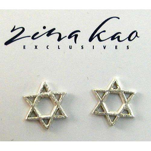 Zina Kao Silver Star of David Earrings