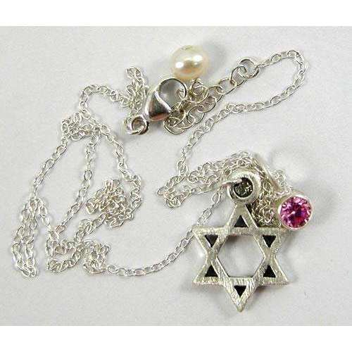 Zina Kao Silver Star of David Necklace with Pink Stone