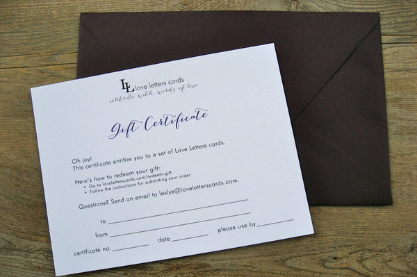 Table Cards / Gift Certificate