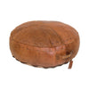 Chocolate Leather Round Ottoman Large
