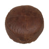 Chocolate Leather Round Ottoman Small