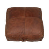 Chocolate Leather Square Ottoman Large