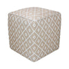 Beige Diamond Patterned Ottoman