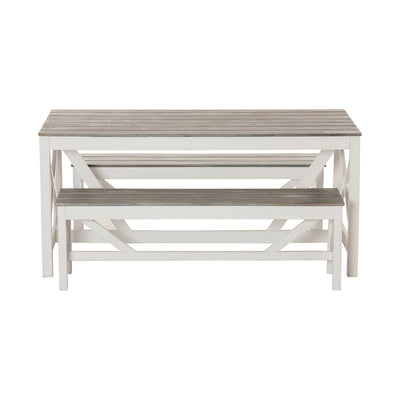 Grey and White Slatted Bench