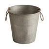 Large Zinc Water Pail with Rope Handles