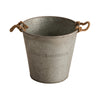 Small Zinc Water Pail with Rope Handles