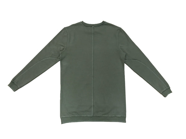 DISTRESSED HI-LOW SWEATSHIRT - MILITARY GREEN - Standard Issue NYC